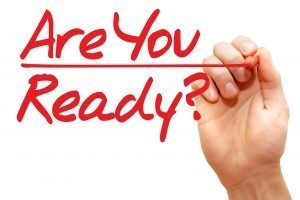 Hand writing Are You Ready, business concept